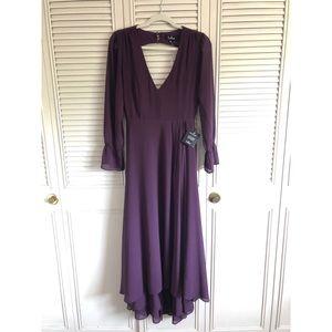 Lulus long sleeved dress in aubergine/eggplant